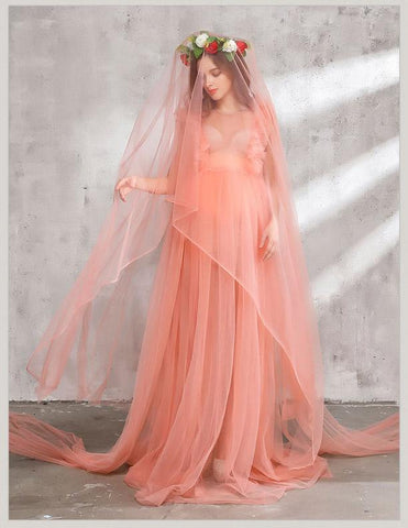 Short-sleeved Tulle Dress Maternity Grown Photo Prop(Multi-color Optional)
