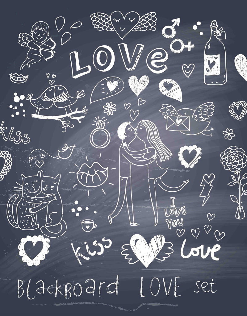 Love Printed Chalkboard Background Photography Backdrop