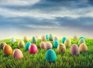 Colorful Easter Eggs On Green Grass Photography Backdrop - Shop Backdrop