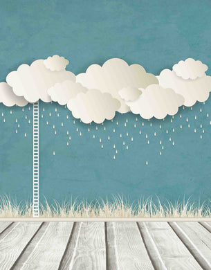 Rain Cloud And Stepladder Before Pale Blue Wall Backdrop