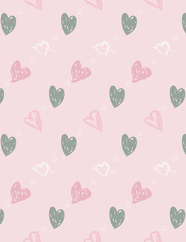 Printed Hearts On Pink Paper Wall Backdrop For Photography