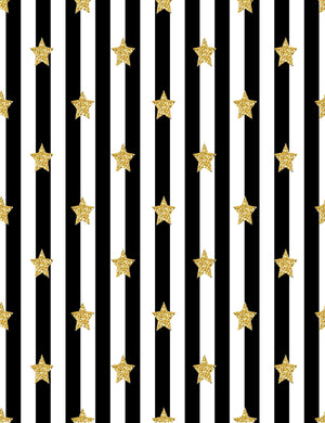 Gold Starts Printed On Black Stripes Background Photography Backdrop - Shop Backdrop