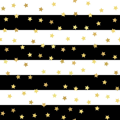 Gold Stars Printed Black Strips Photography Backdrop - Shop Backdrop