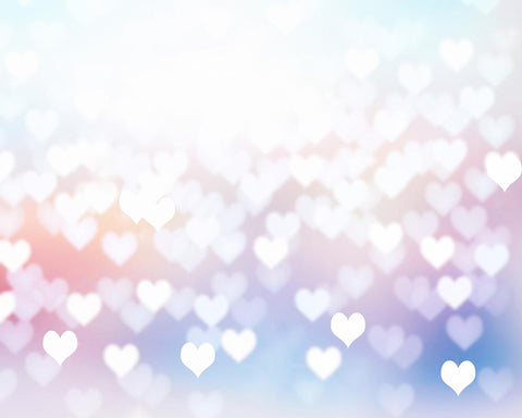 Silver Bokeh Heart For Valentines Day Photography Backdrop-