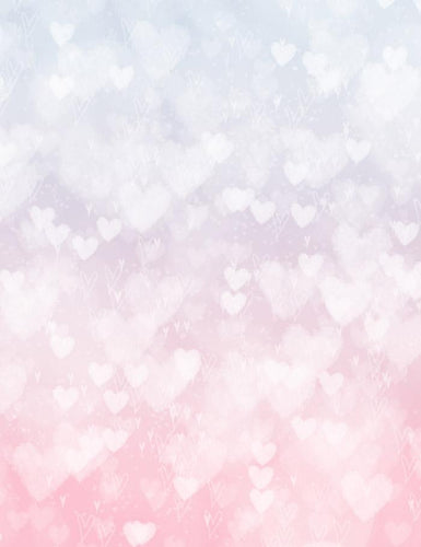 Silver Hearts Bokeh With Pink And White Background Photography Backdrop J-0131