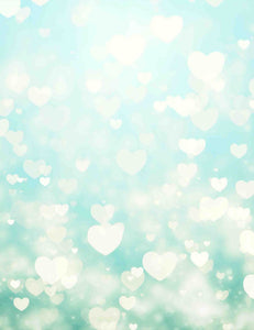 Silver Sparkle Hearts With Horizon Blue Bokeh  Backdrop For Wedding Photo
