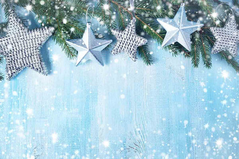 Silver Stars On Blue Wall With Snow Bokeh Photography Backdrop  J-0175