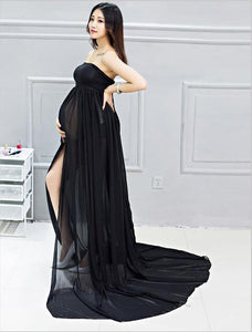 Sleeveless Chiffon Leakage Shoulder Maternity Dress Photo Prop(Multi-color Optional) black