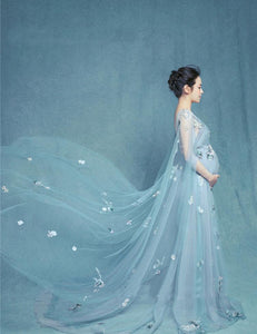 Sleeveless Lace Long Maternity Gown Dress With Flowers Photo Prop