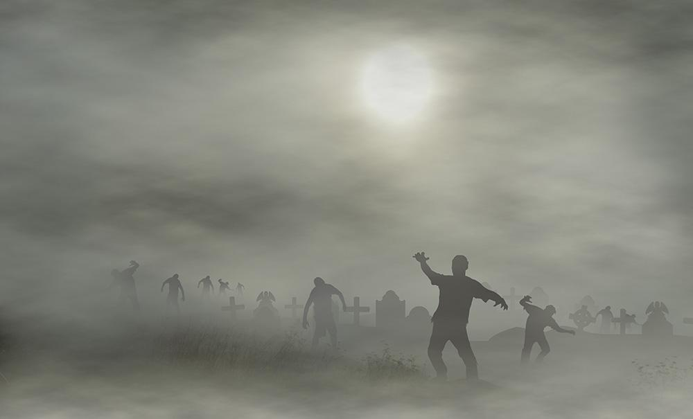 Smoggy Weather  Cemetery With Zombies For Halloween Photography Backdrop J-0063
