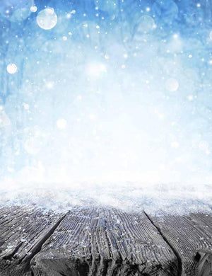 Snow Bokeh Background With Senior Wood Floor For Winter Photo Backdrop