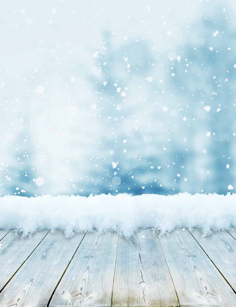 Snow Bokeh Background With Wood Floor For Studio Photo