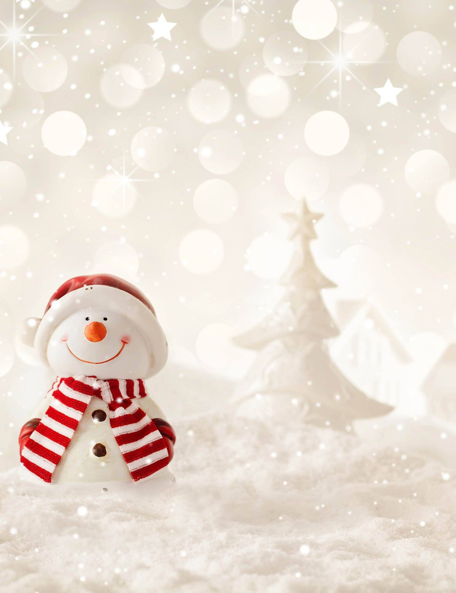 Snow Bokeh With Snowman Background For Baby Backdrop