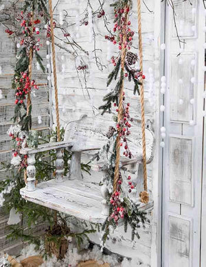 Snow Covered Wooden Swing For Christmas Photography Backdrop J-0220