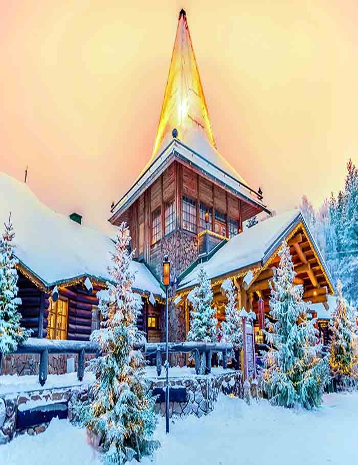 Snow Covered Wooed House For Christmas Photography Backdrop J-0287