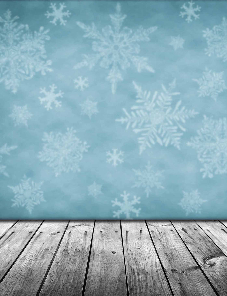 Snow Printed On Pale Blue Wall With Retro Wood Floor Backdrop For Photography - Shop Backdrop