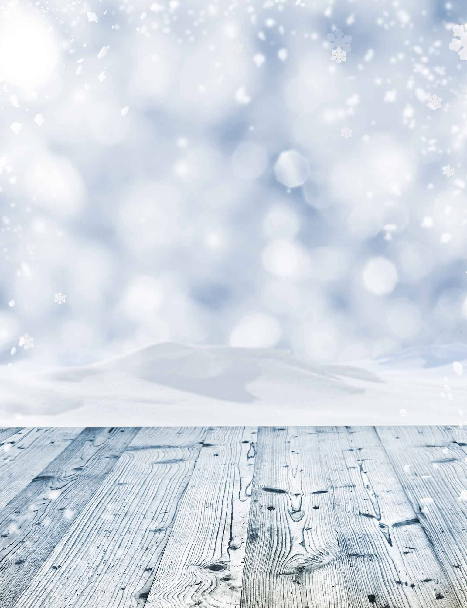 Snow Silver Bokeh Sparkled With Wood Floor Background For