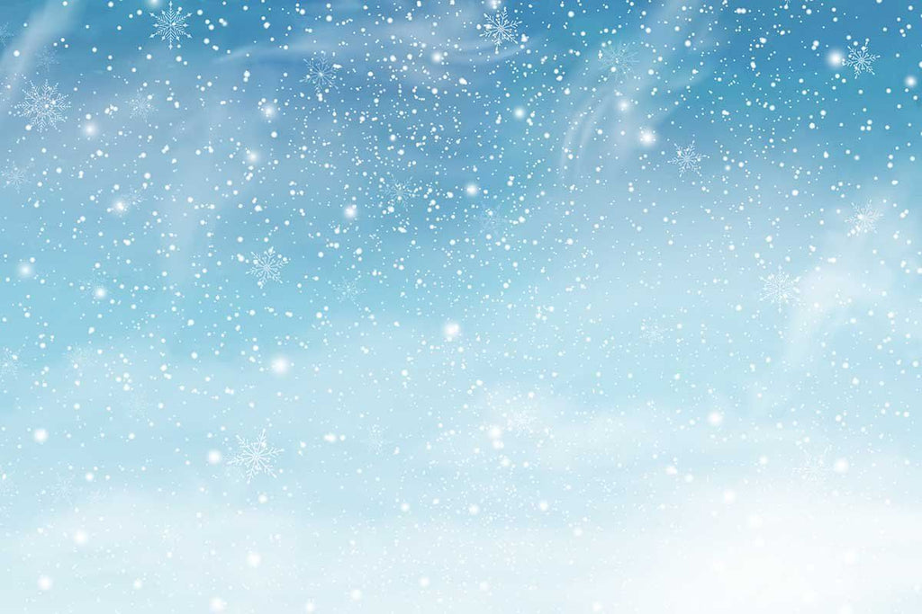 Snowflakes Flying In Baby Blue Sky Photography For New Year Backdrop J-0138