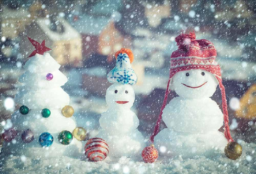 Snowmen Snow Christmas Tree For Christmas Baby Show Photography Backdrop J-0097