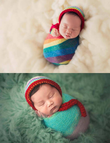 Soft Stretch Cotton Rainbow Wrap Newborn Photo Prop(Multi-color optional)