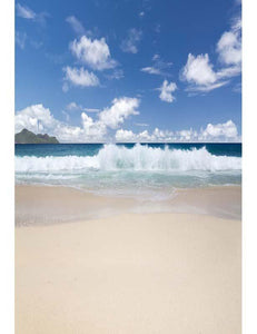 Spraydrift Azure Sandy Beach For Children Holiday Photography Backdrop  F-2623