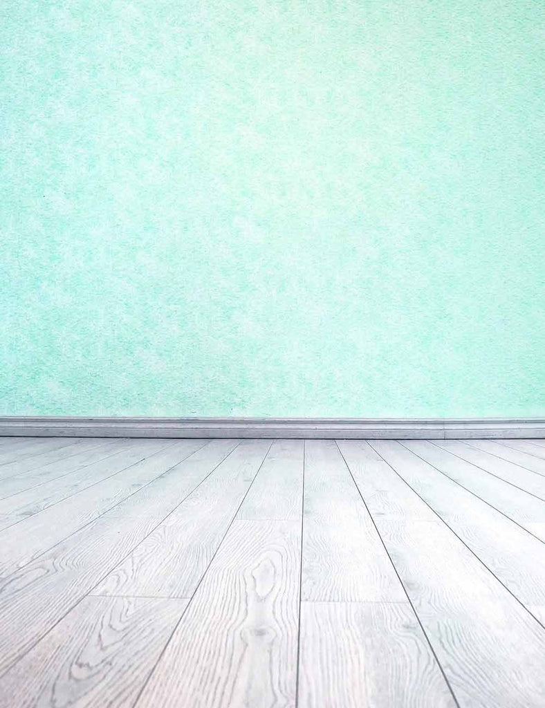 Spring Green Wall Background With Wood Floor For Studio Photo