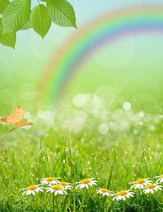 Spring Gress With Rainbow Photography Backdrop J-0467