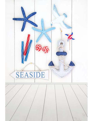 Starfish Anchor Seagull Toy Windmill With Wood Floor And Wall Backdrop F-2665