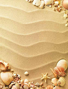 Starfish And Shell On Yellow Beach For Baby Photography Backdrop