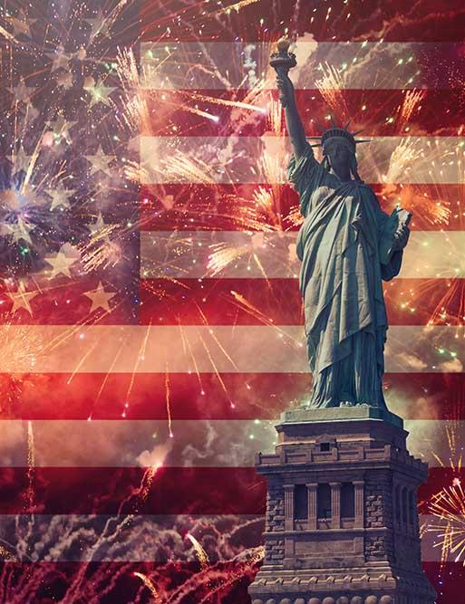 Statue of Liberty And Fireworks For Celebrate Independence Day Photography Backdrop  J-0357