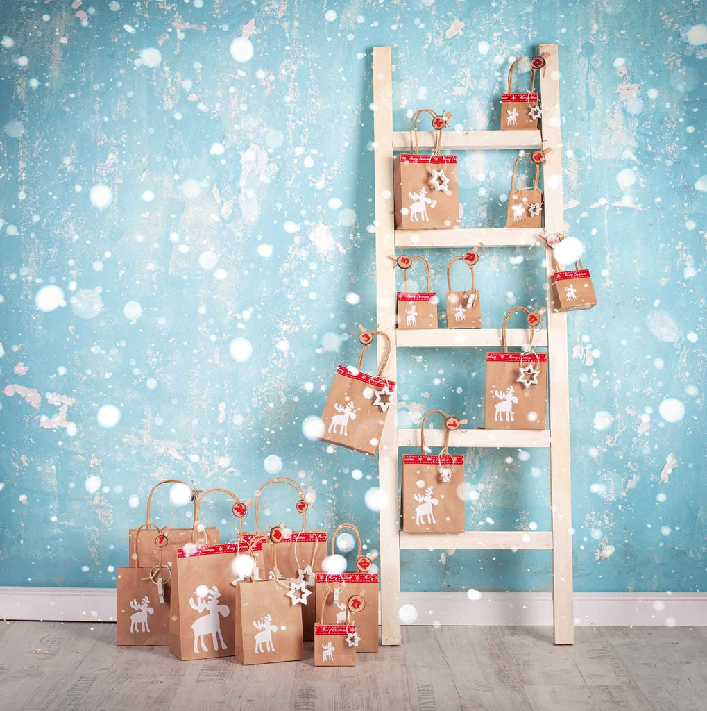 Stepladder Christmas Gifts With Snow Bokeh For Children Backdrop