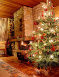 Stone Fireplace And Christmas Tree In Senior Room  For Holiday Photography Backdrop