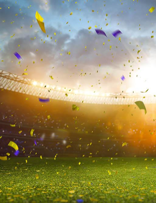 Sunset Celebrating Victory In The Soccer Field For World Cup Backdrop - Shopbackdrop