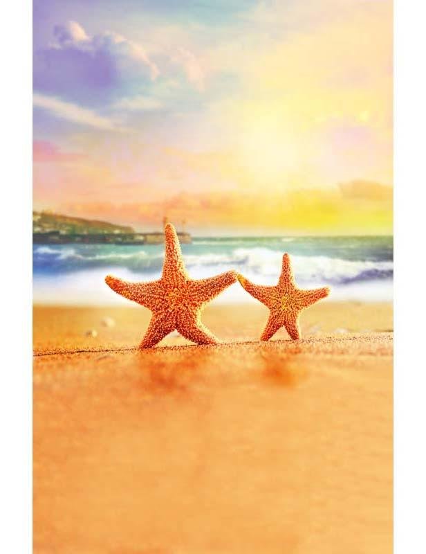 Sunset Gold Sand Beach With Starfish Backdrop For Children Photography F-2649