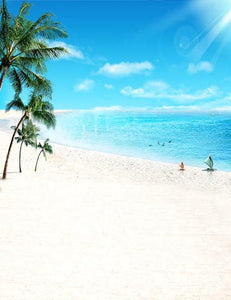 Sunshine Sandy Beach Coconut Trees For Sunmmer Holiday Backdrop F-2651