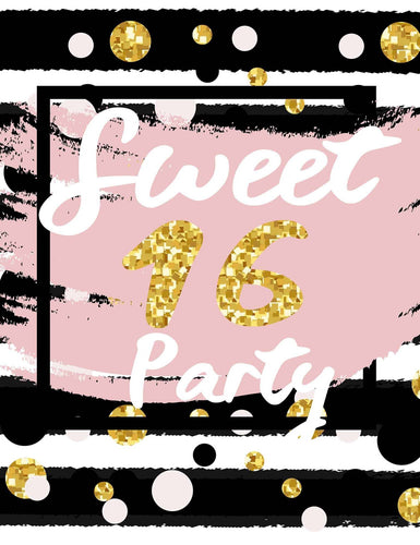 Sweet 16 Birthday With Polk Dots And Black Strips Photography Backdrop - Shop Backdrop