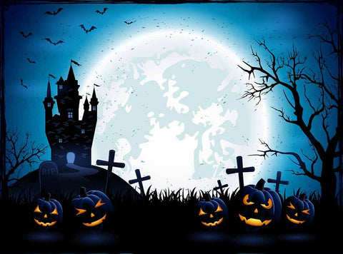 Terror Graveyard With Pumpkins Under The Moonlight Halloween Holiday Backdrop