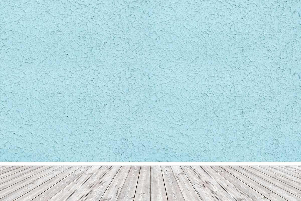 Texture Baby Blue Wall With Gray Wood Floor Backdrop For Photography