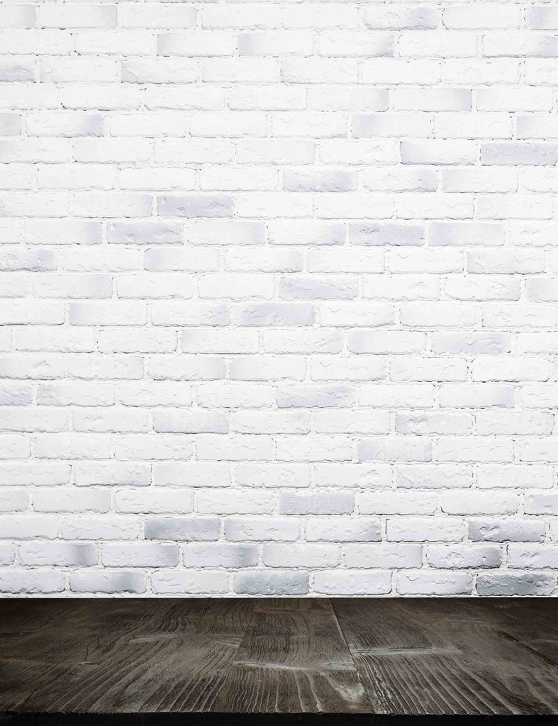 Texture White Brick Wall With Grunge Deep Brown Backdrop For Photography - Shop Backdrop