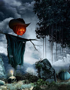 Tombstones Candles And Scarecrow For Halloween Photography Backdrop J-0535