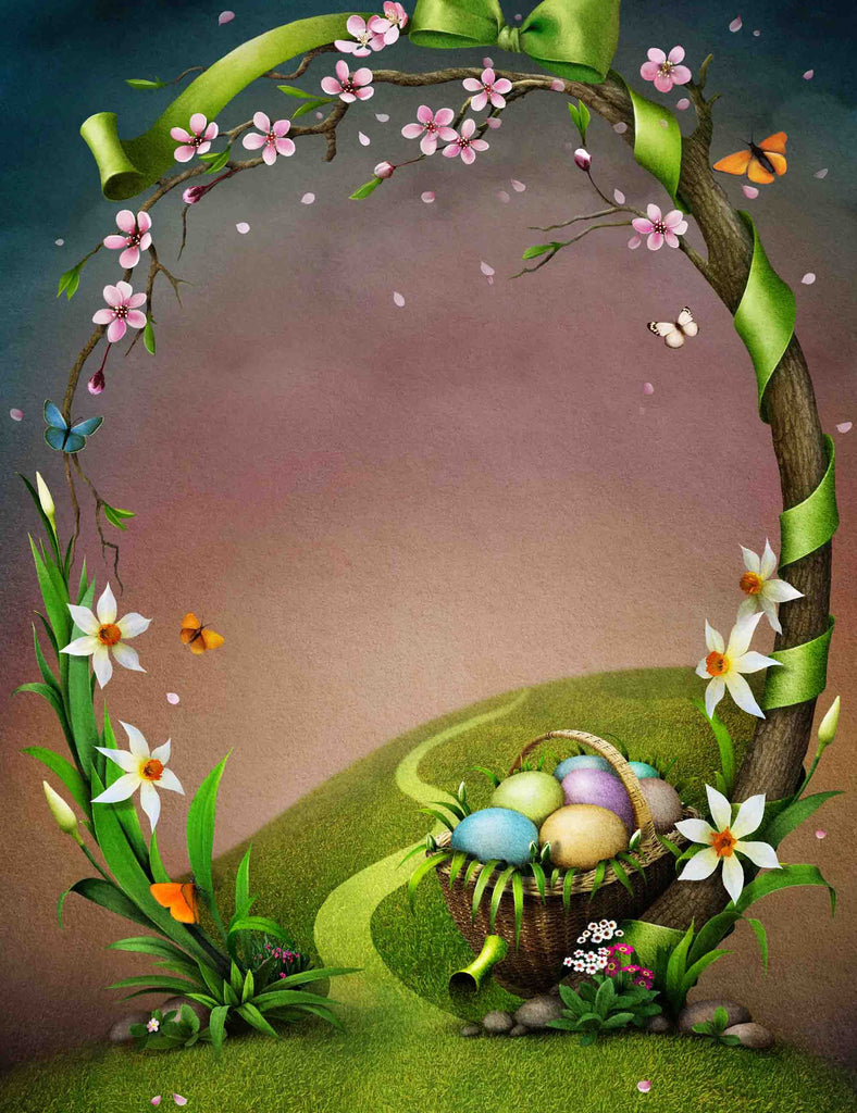 Tree Branches Arched A Basket Of Easter Eggs Backdrop For Photography