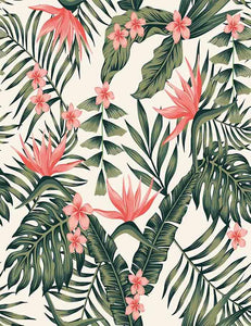 Tropical Dark Green Leaves Of Palm Trees And Flowers Photography Backdrop J-0090