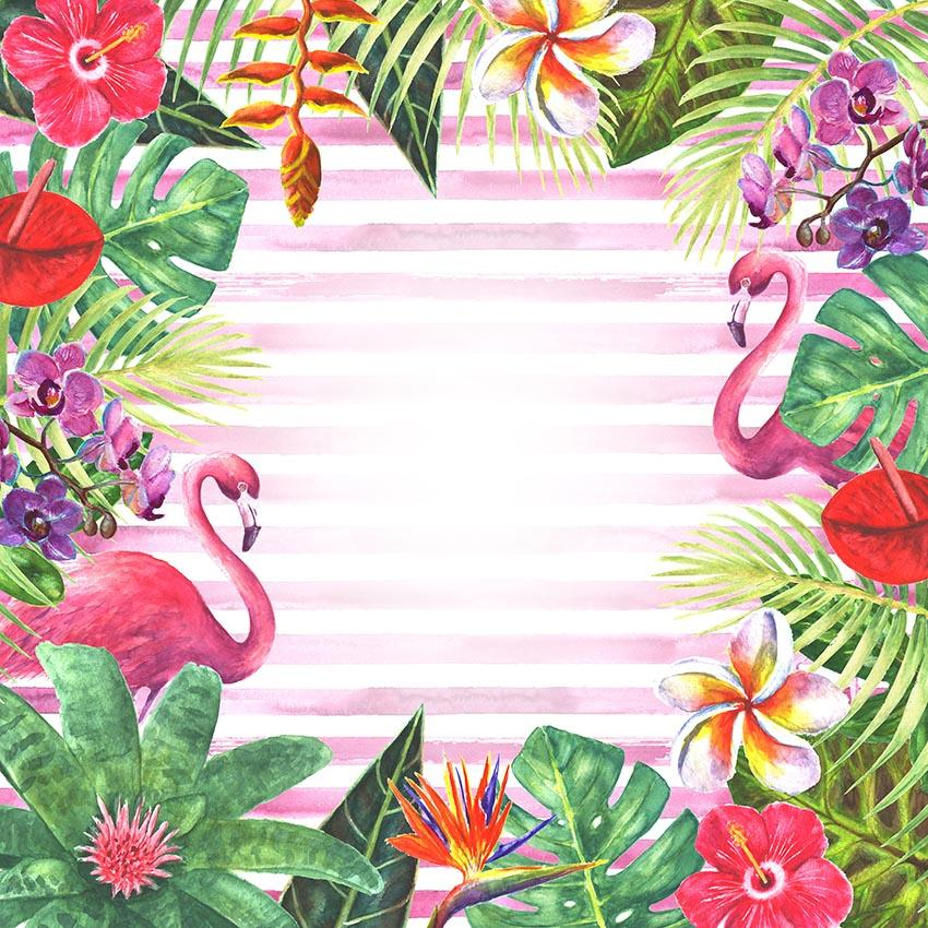 Tropical Jungle Flamingo Patterns Strips Photography Backdrop lv-242