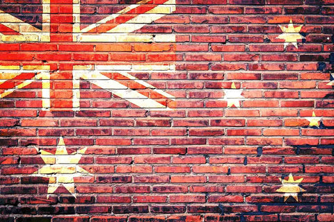UK Flag Printed On Brick Wall With Stars Backdrop For Photography - Shop Backdrop