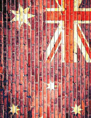 UK Flag Printed On Brick Wall With Stars Backdrop For Photography- ShopBackdrop
