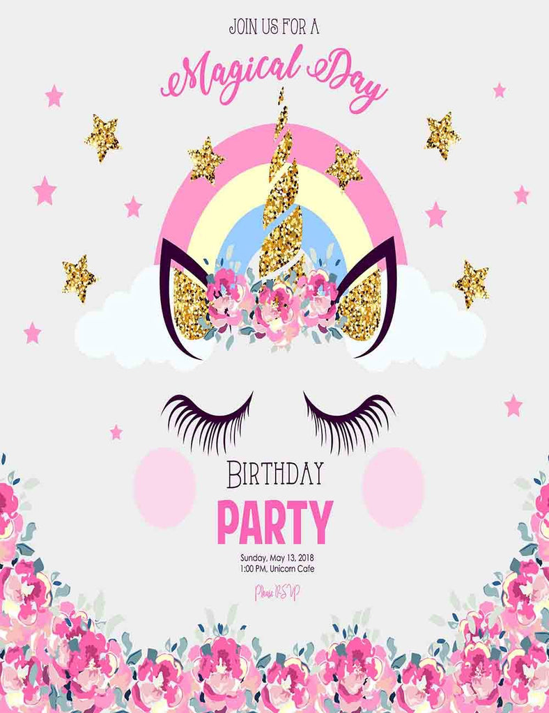 Unicorn With Pink Flower For Birthday Party Photography  Backdrop J-0024