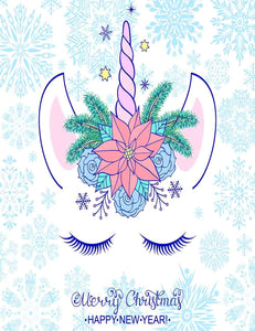 Unicorn With Snowflakes For New Year Photography Backdrop J-0019