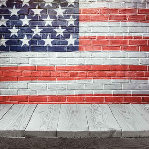 USA Flag Printed On Wall With Wood Floor Photography Fabric Backdrop J-0006