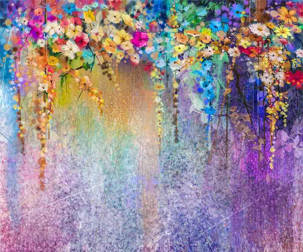 Wataercolor Abstract Painted Flower Purple Wall Photography Backdrop