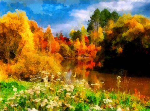 Watercolor Painted Autumn Scenery Photography Backdrop J-0792
